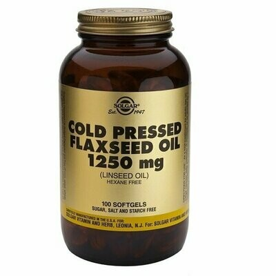 SOLGAR COLD PRESSED FLAXSEED OIL 1250 MG 100 COMP (LINAZA)
