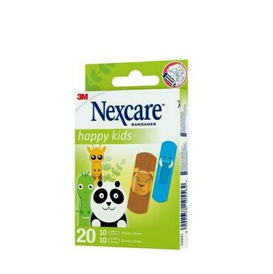 3M NEXCARE ACTIVE HAPPY KIDS APOSITO ADHESIVO ANIMALS 10 U 25 MM X 72 MM   10 U