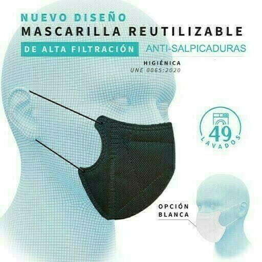 MASCARILLA ANTIBACTERIANA ADULTO NEGRA ERGONATURA