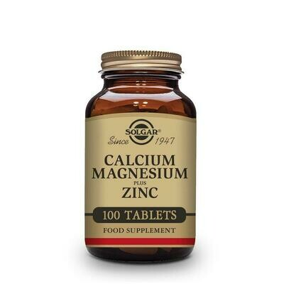 SOLGAR CALCIUM MAGNESIUM PLUS Y ZINC 100 TABLETAS