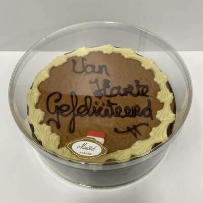 Hedgies.Chocolate tekst taart