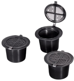 Hervulbare cups voor Nespresso (3) incl proefblikjes/zakjes koffie