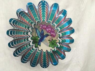 Hummingbird Blue Large - Animated Wind Spinner