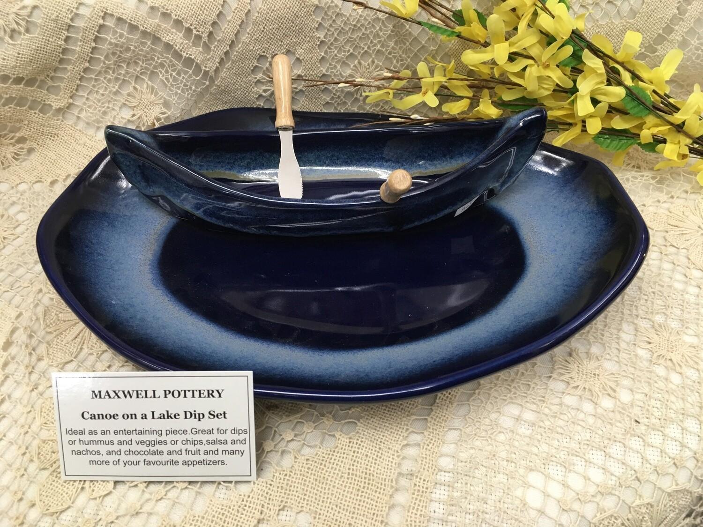 Canoe on a Lake Dip Set - Northern Lights Blue - Maxwell Pottery - Canadian Handmade