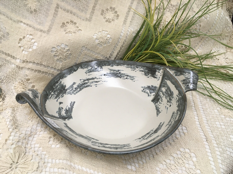 Extra Large Oval Slab Bowl with Handles, Birch Bark - Pavlo Pottery - Canadian Handmade