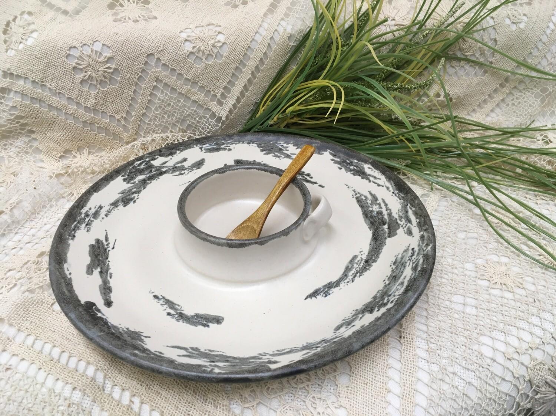 Chip & Dip / Veggie Dish Medium, Birch Bark - Pavlo Pottery - Canadian Handmade