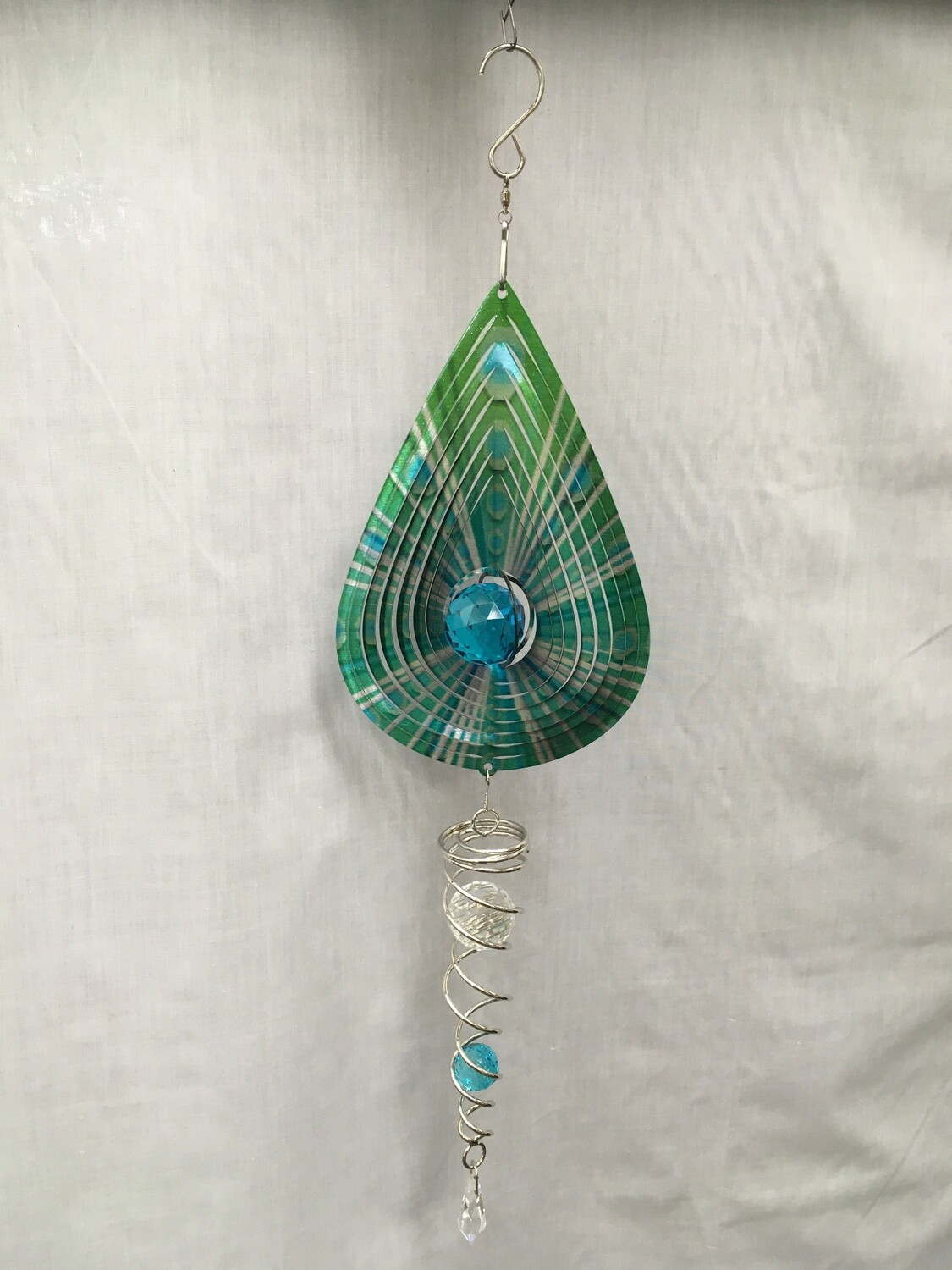 Spinner Set - Green Tear Drop Small Wind Spinner with Twister Spiral double crystal Tail