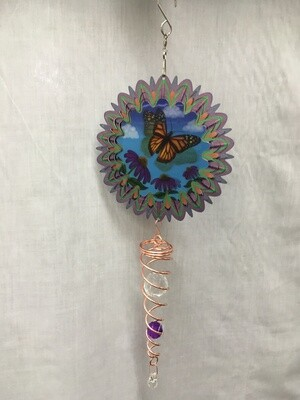 Spinner Set - Monarch Butterfly Small  Animated Wind Spinner with Twister Spiral double crystal Tail