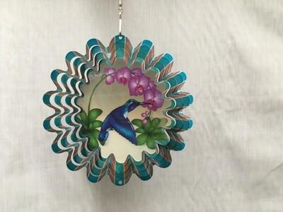 Hummingbird Blue Small - Animated Wind Spinner