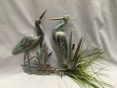 Antiqued Green/Brass Herons and Cattails - Wall/Fence Art - 18