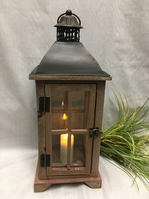 "Georgian Bay, Brown Decorative Lantern 18"" - Wood and Metal with Glass - shown with candle (sold separately)"