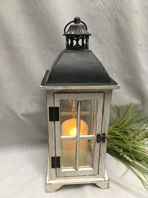 "White Antiqued Decorative Lantern - 18"" - Wood and Metal with Glass - shown with candle (sold separately)"