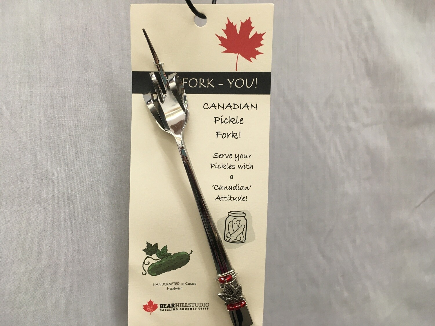 Fork-You Maple Leaf Pickle Fork - Canadian Handcrafted - Red Beads
