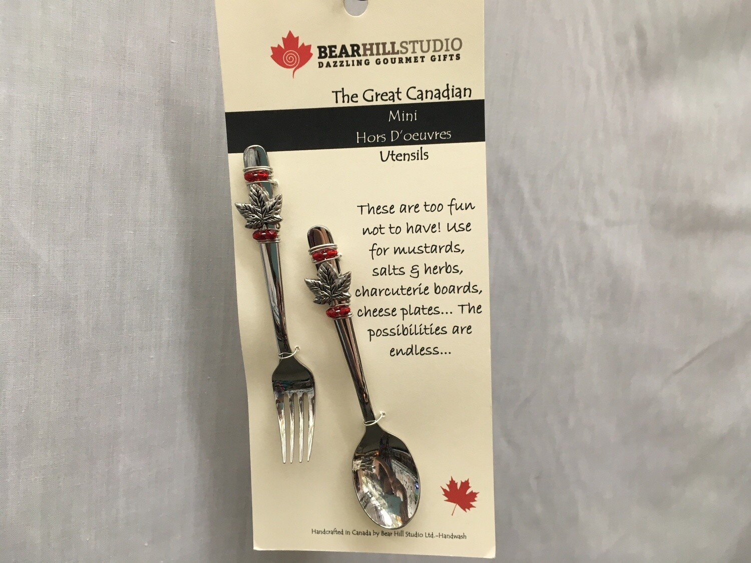 Mini Hors D'oeuvres Utensil Set - Fork and Spoon - Maple Leaf - Canadian Handcrafted
