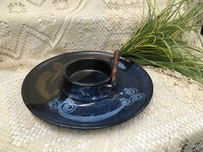 Chip & Dip / Veggie Dish Medium, Blue Stone - Pavlo Pottery- Canadian Handmade