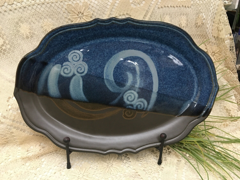 Oval Platter Large, Blue Stone - Pavlo Pottery - Canadian Handmade