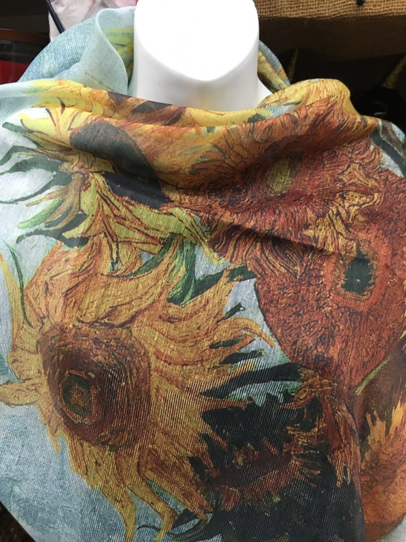 Oil Painting Scarf - 30% Silk - Sunflowers, Van Gogh