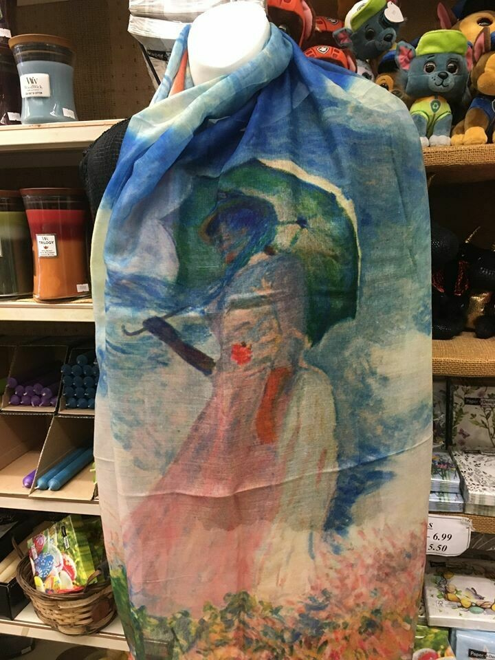 Oil Painting Scarf - Lady with parasol - Monet