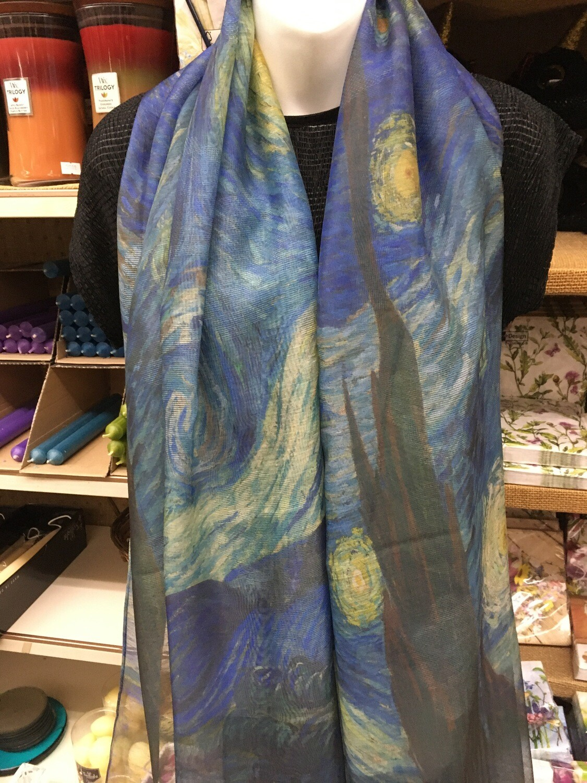 Oil Painting Scarf - 30% Silk - Starry Night, Van Gogh