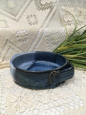 Brie Baker with Handles, Ocean Blue - Pavlo Pottery - Canadian Handmade