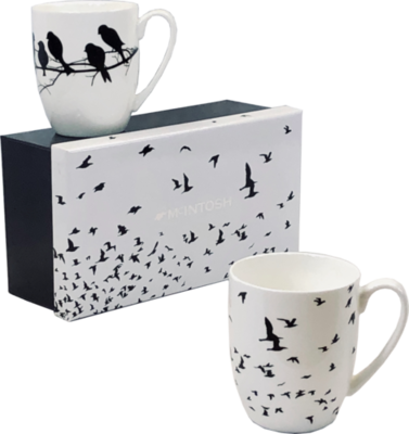 Eternal Silhouette - Trees/birds - Set of Two Fine Bone China Mugs in Collector Box