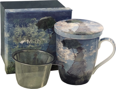 Monet - Woman with a Parasol - Single Fine Bone China Tea Mug/Cup in Collector Box - with Lid and Strainer