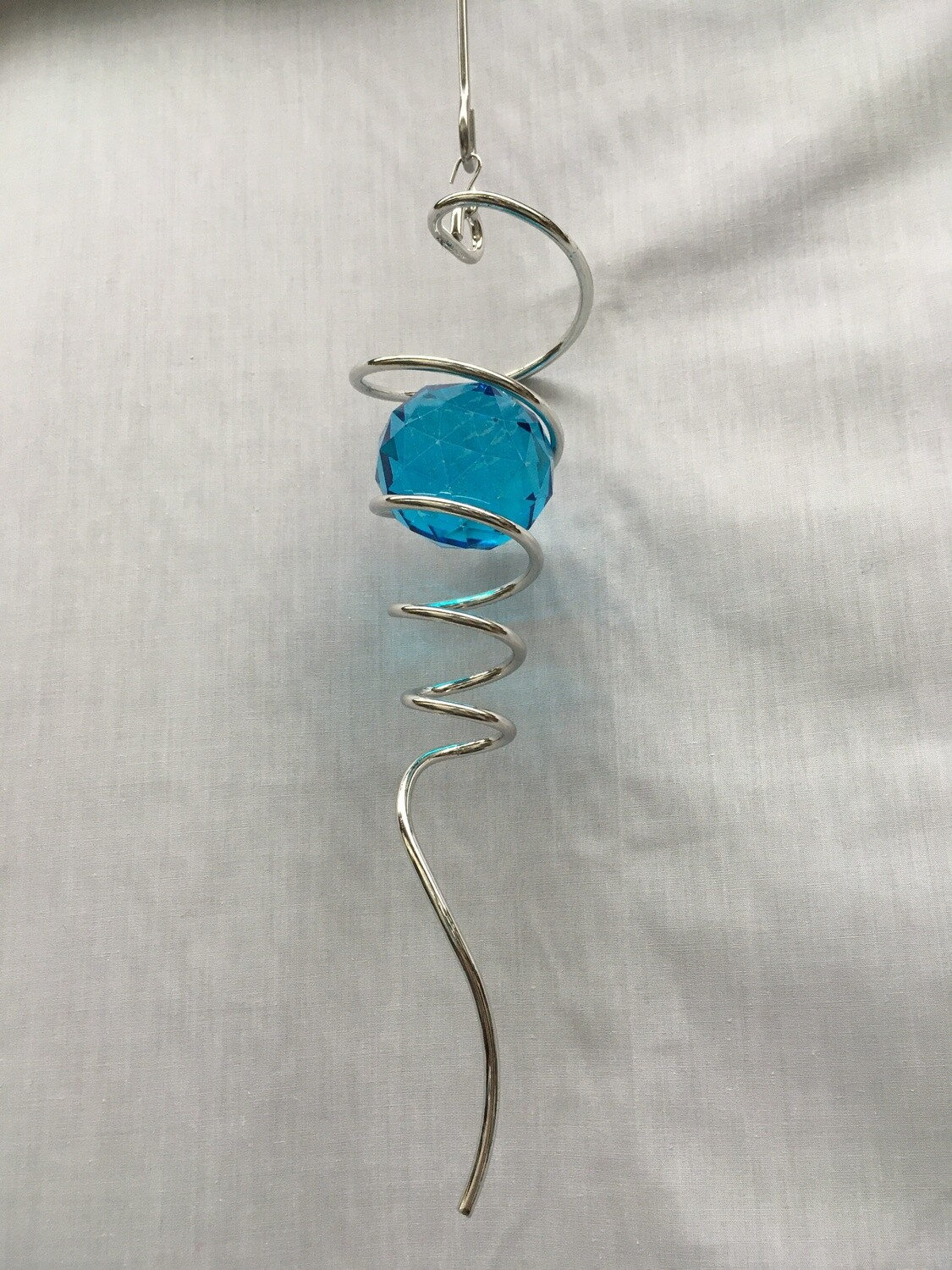 Spiral Tail with blue/aqua crystal - 10 inch
