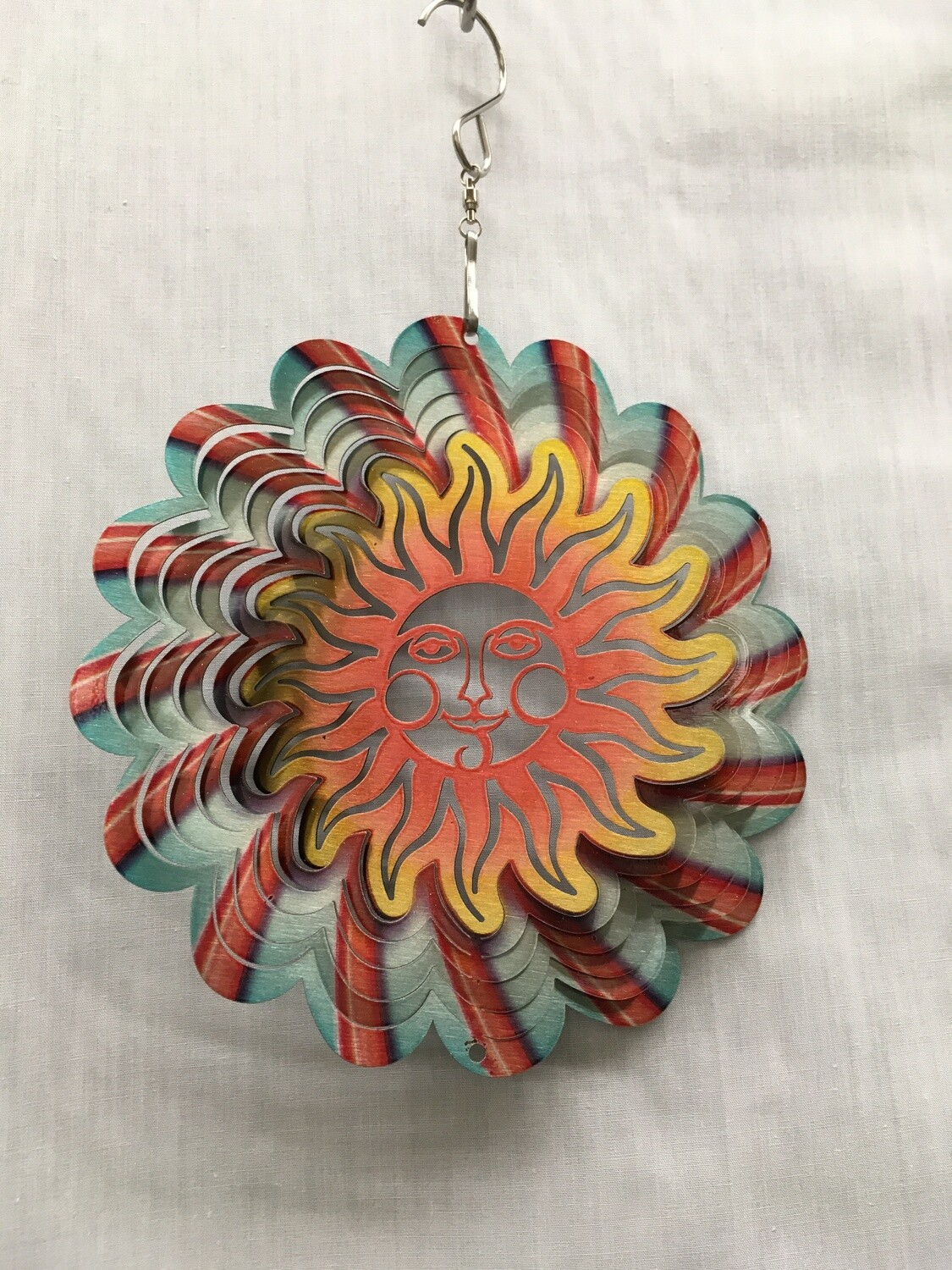 Sun Face Red/Blue Small - Wind Spinner