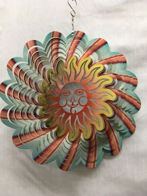 Sun Face Red/Blue Large  - Wind Spinner