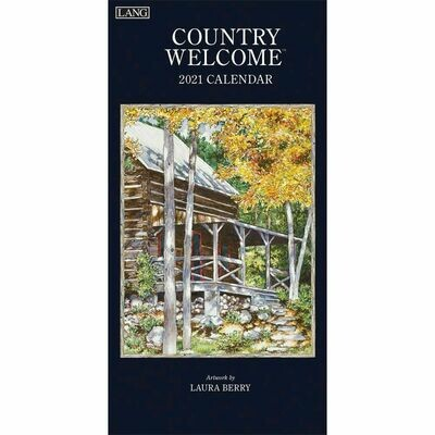 Lang Spiral Top Vertical Calendar - Country Welcome - Laura Berry