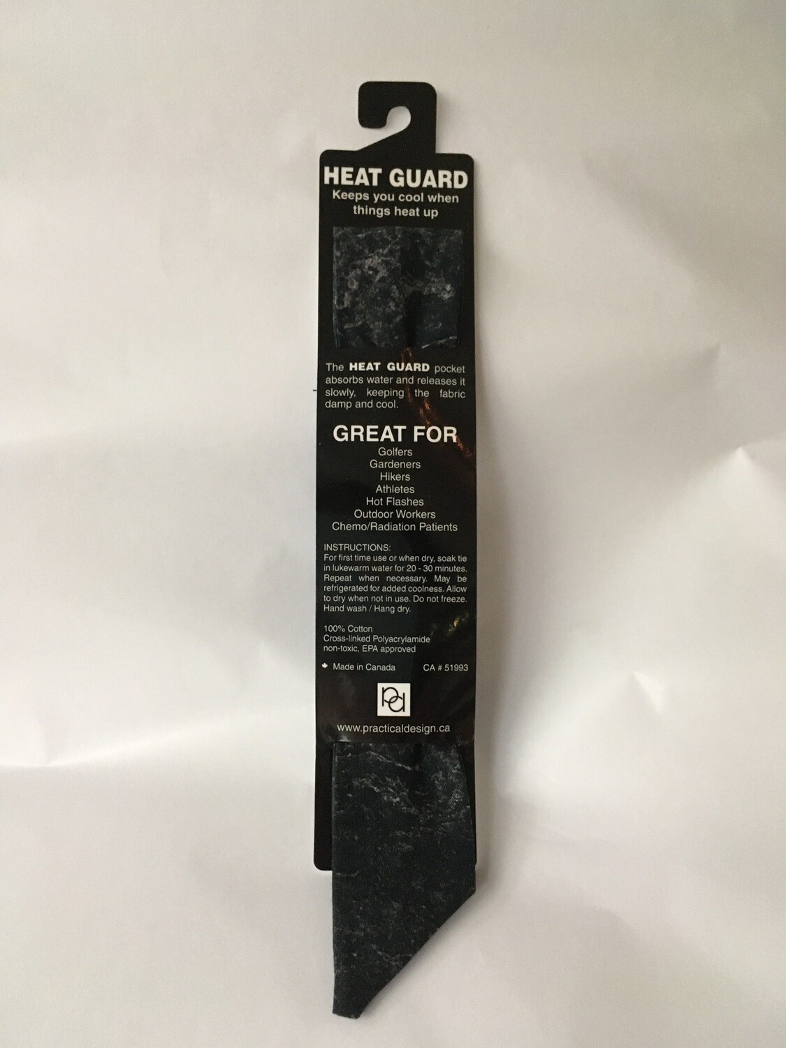 Heat Guard Cooling Tie - Black Tones -  Handmade in Canada