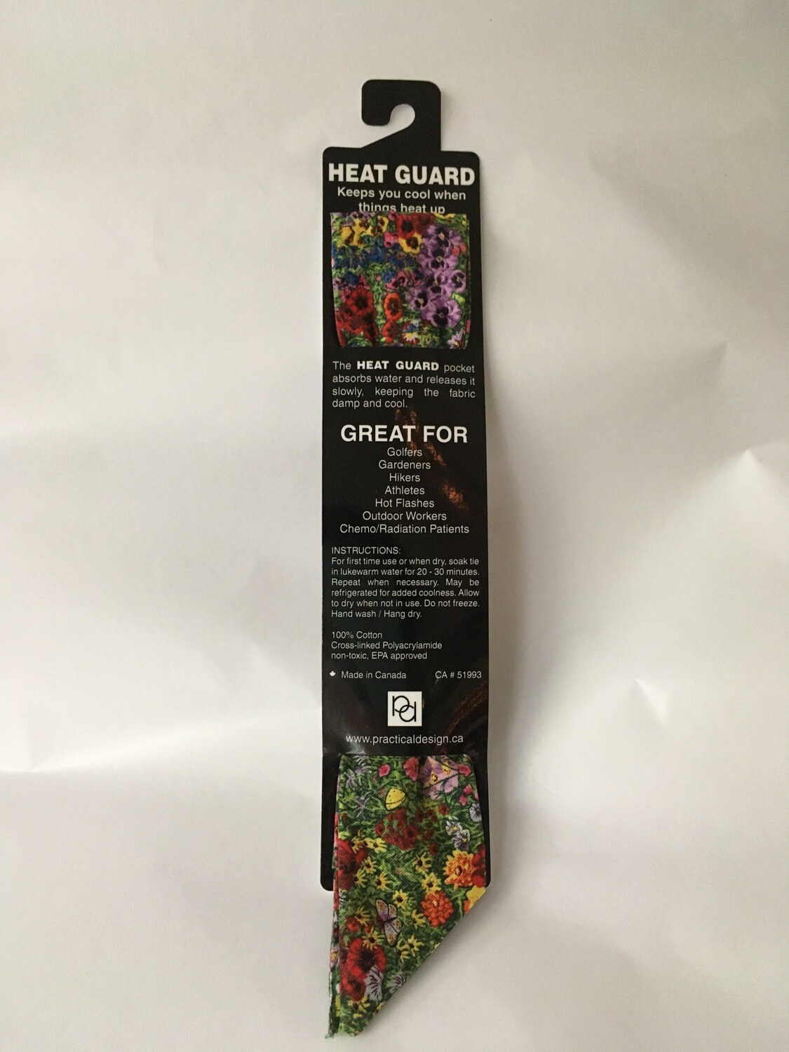 Heat Guard Cooling Tie - Country Garden -  Handmade in Canada
