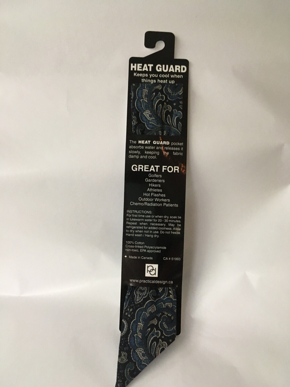 Heat Guard Cooling Tie - Blue Paisley -  Handmade in Canada