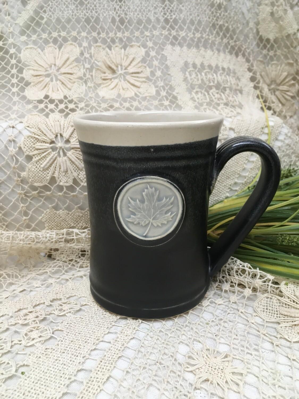 Medallion Large Mug, Maple Leaf, Black & White - Pavlo Pottery - Canadian Handmade