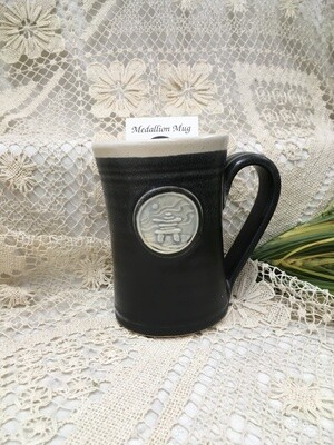 Medallion Large Mug, Inuksuk, Black & White  - Pavlo Pottery - Canadian Handmade