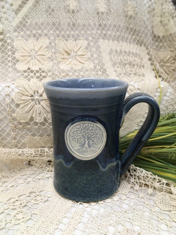 Medallion Large Mug, Tree of Life, Ocean Blue - Pavlo Pottery - Canadian Handmade