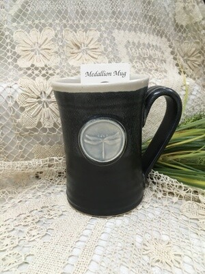 Medallion Large Mug, Dragonfly, Black & White - Pavlo Pottery - Canadian Handmade