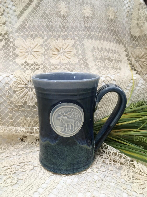 Medallion Large Mug, Moose, Ocean Blue - Pavlo Pottery - Canadian Handmade