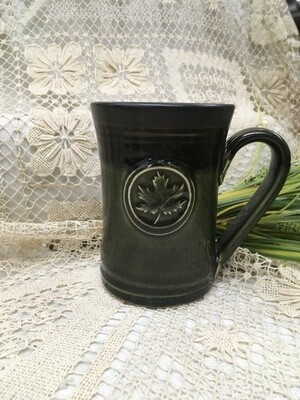Medallion Large Mug, Maple Leaf, Green Stone - Pavlo Pottery - Canadian Handmade