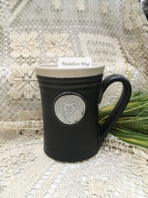 Medallion Large Mug, Owl, Black & White - Pavlo Pottery - Canadian Handmade