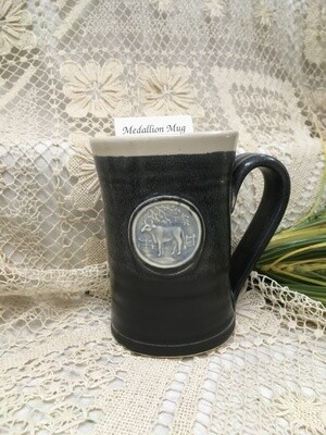 Medallion Large Mug, Cow, Black & White - Pavlo Pottery - Canadian Handmade