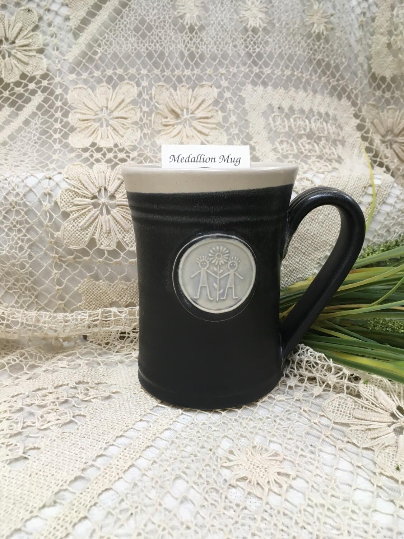Medallion Large Mug - Friends, Black & White  - Pavlo Pottery - Canadian Handmade