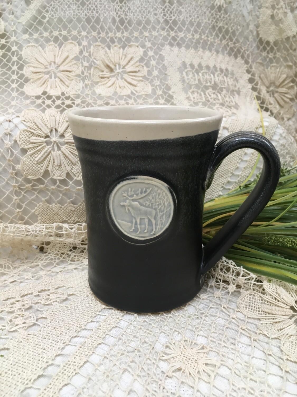 Medallion Large Mug, Moose, Black & White - Pavlo Pottery - Canadian Handmade