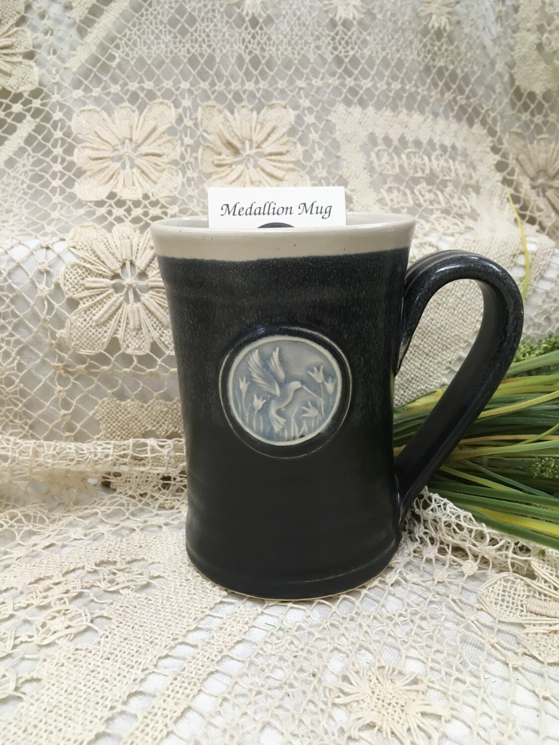 Medallion Large Mug, Hummingbird, Black & White - Pavlo Pottery - Canadian Handmade - Canadian Handmade