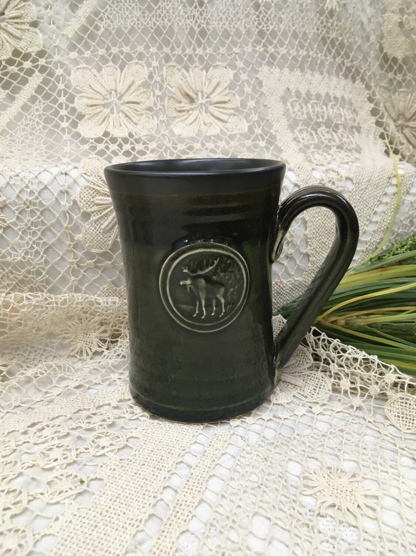 Medallion Large Mug, Moose, Green Stone - Pavlo Pottery - Canadian Handmade