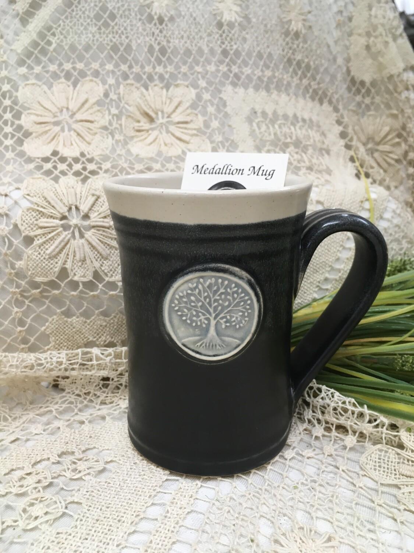 Medallion Large Mug, Tree of Life, Black & White - Pavlo Pottery - Canadian Handmade
