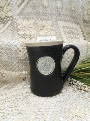 Medallion Large Mug, Pine Trees, Black & White - Pavlo Pottery - Canadian Handmade