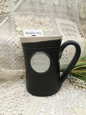 Medallion Large Mug, Bear, Black & White - Pavlo Pottery - Canadian Handmade