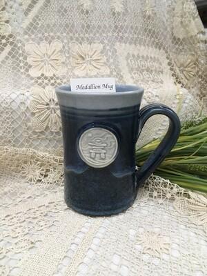 Medallion Large Mug, Inuksuk, Ocean Blue - Pavlo Pottery - Canadian Handmade