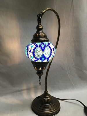 Mosaic Glass Table Lamp, Blue and White Vertical Diamonds